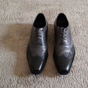 Mens gray wingtip dress shoes